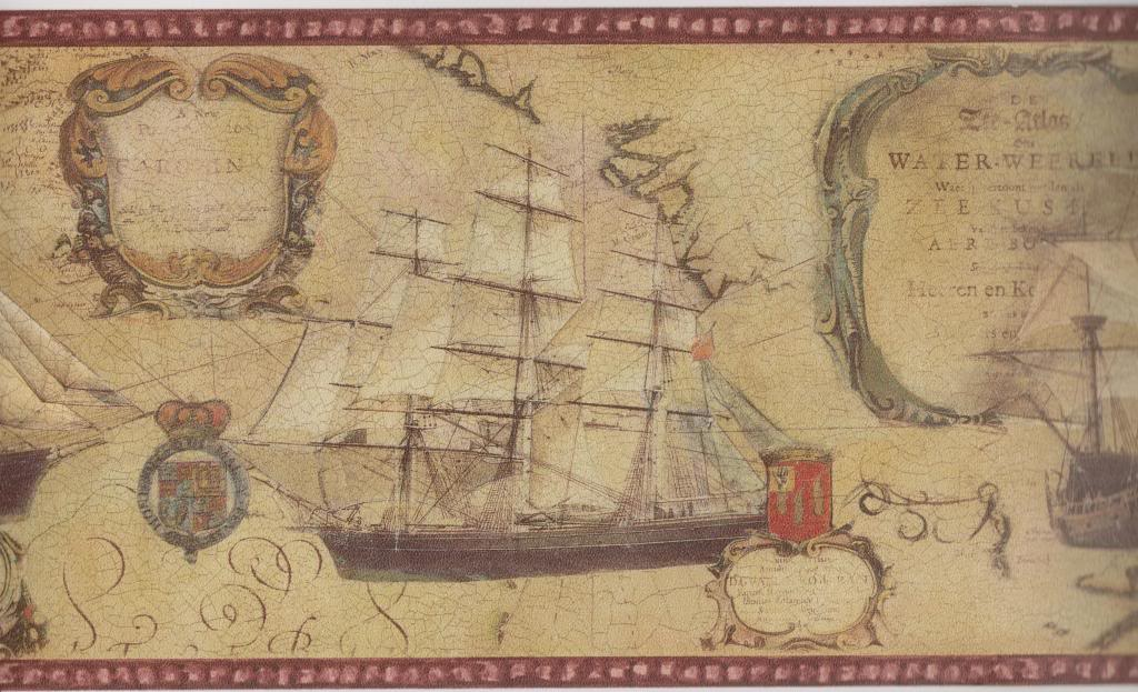 Old World Map Ships Red Trim Nautical Wallpaper Border Norwall WD76837 1024x623