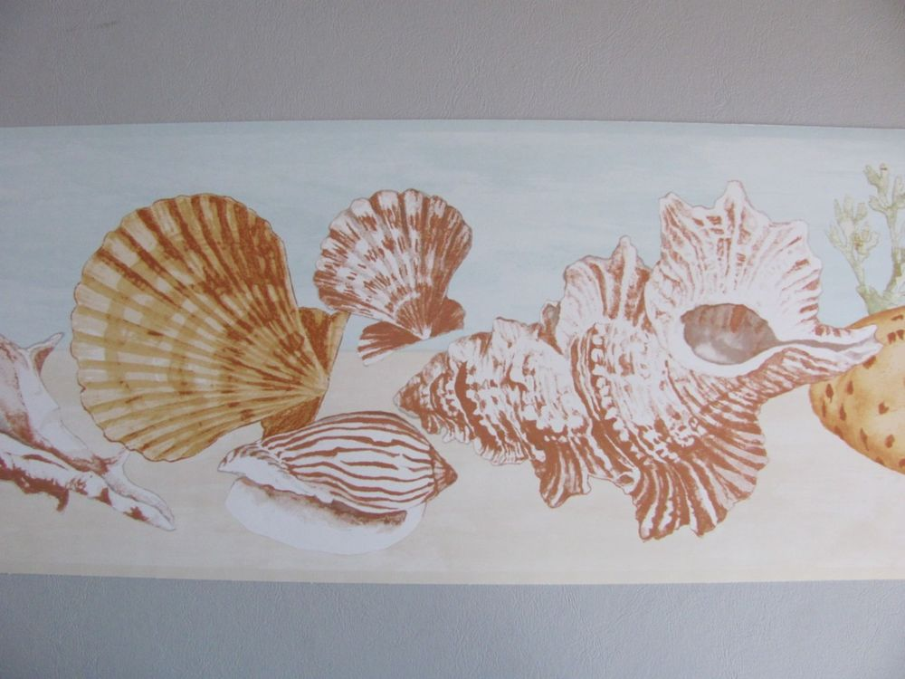 Sea Shells Sand Coral Ocean Theme Nautical Decor Wall Paper Border 1000x750