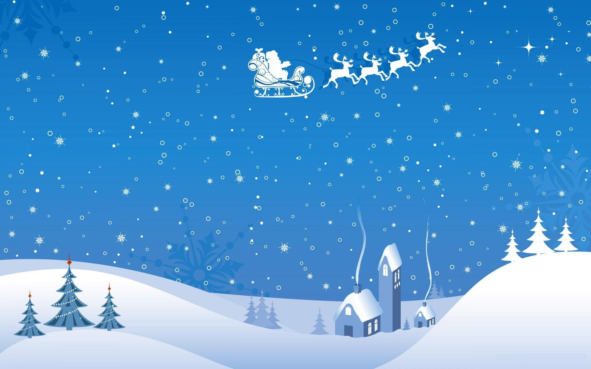 Wallpaper flight deer smoke snowfall santa claus house snow 1920x1200
