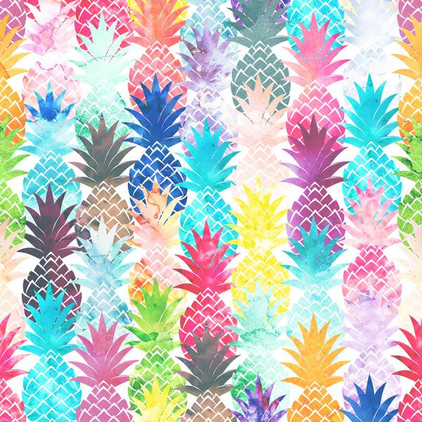 Hawaiian Pineapple Pattern Tropical Watercolor Art Print by Girly 600x600