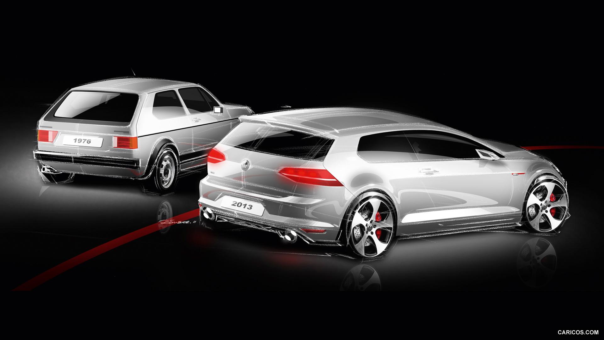 Gti Interior Volkswagen Golf GTI VII 2015   Design Sketch Wallpaper 1920x1080