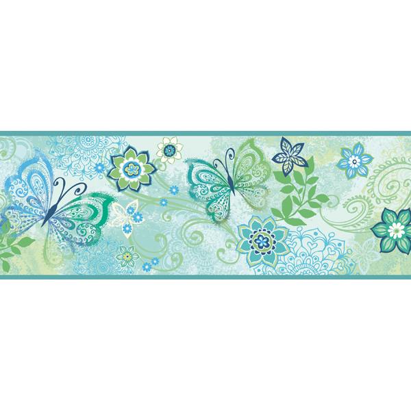 TOT46453B Blue Boho Butterflies Scroll Border   Fantasya   Totally for 600x600