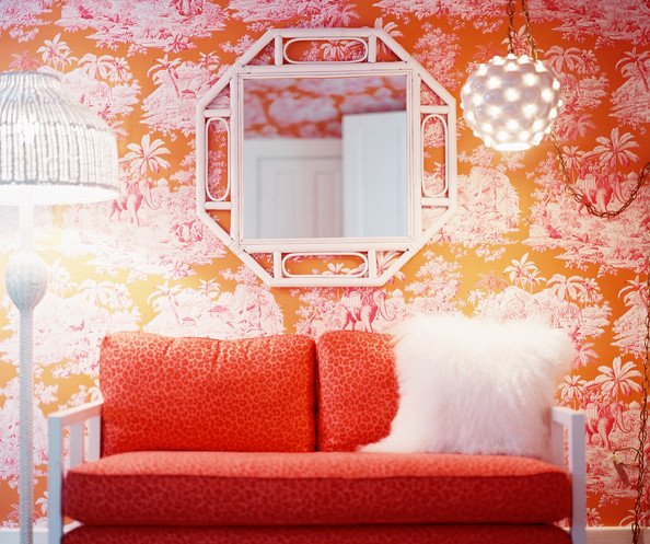 594x497px Orange Toile Wallpaper Wallpapersafari