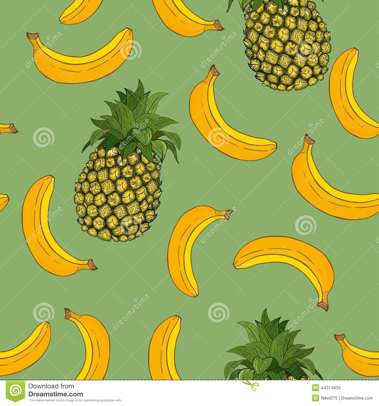 Pineapple Wallpaper Patterns Banana And Pineapple Pattern 1300x1390