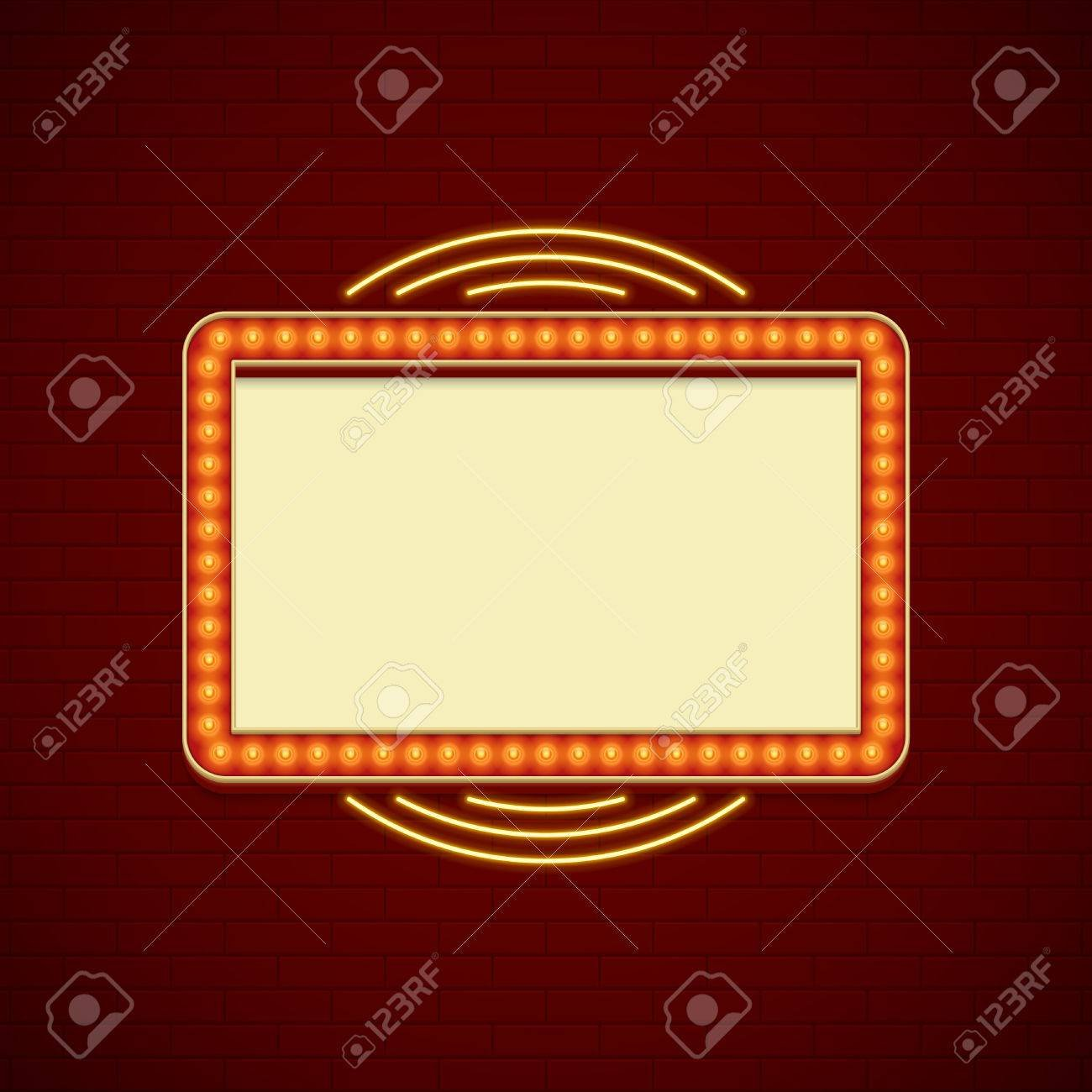 Retro Showtime Sign Design Cinema Signage Light Bulbs Frame 1300x1300