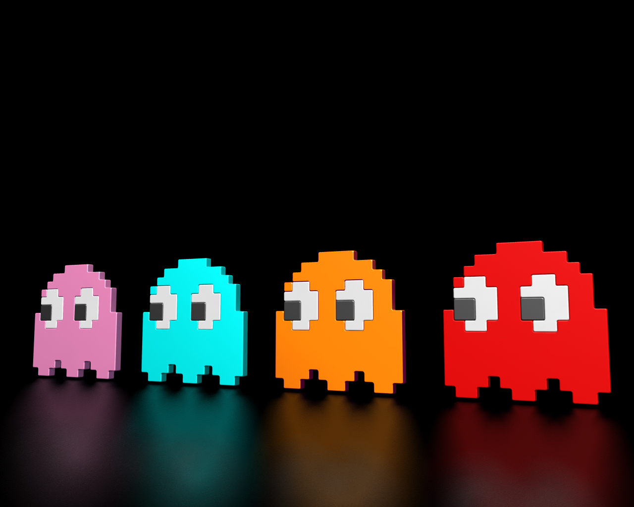 pacman reflection wallpaper background classic game arcade img image 1280x1024