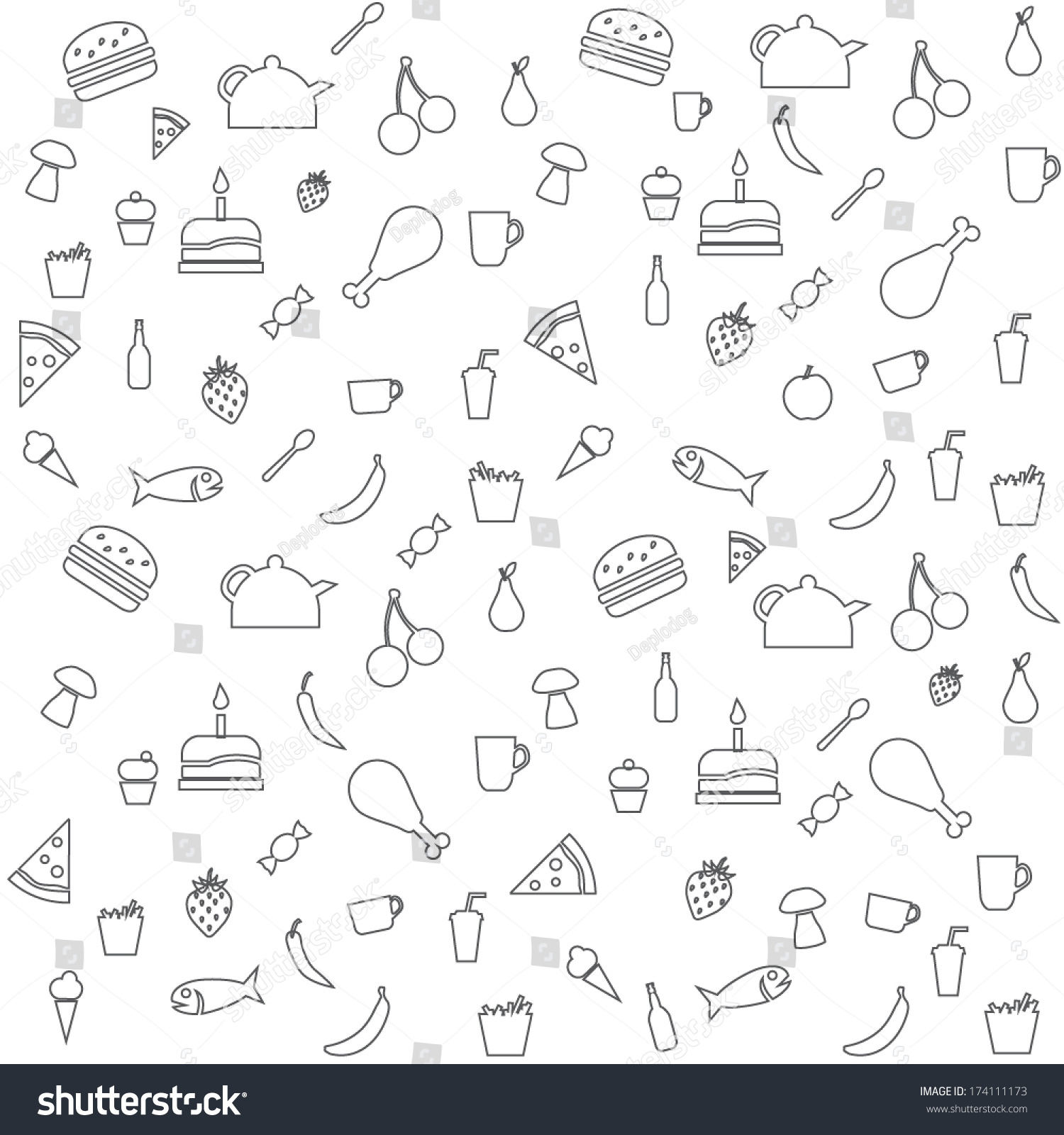Vector Seamless Outline Food Background Stock Vector Royalty 1500x1600