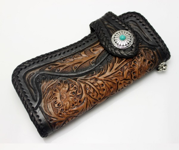 Download Hand carved leather wallet hand tooled leather wallet 601x503