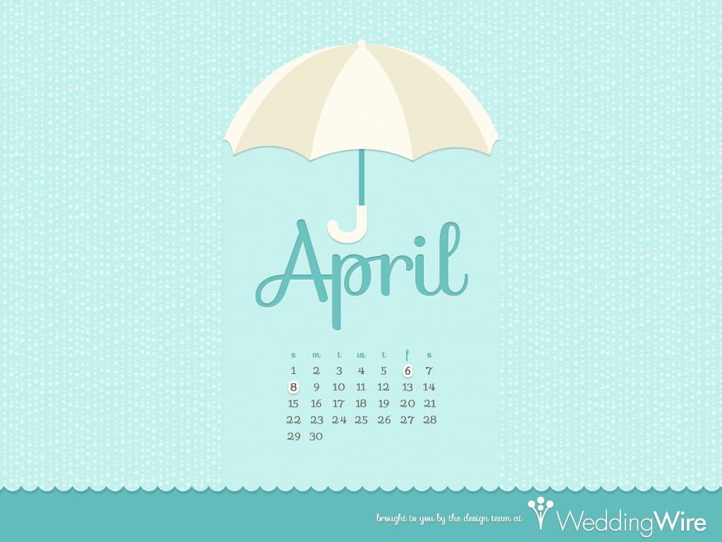 Fun Freebies April Calendar Wallpaper   WeddingWire The Blog 1024x768