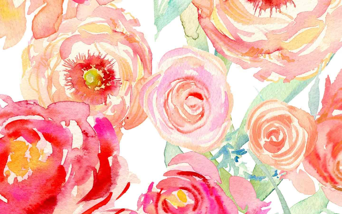 Watercolor Floral Wallpaper   Watercolor Flower Computer 1440x900