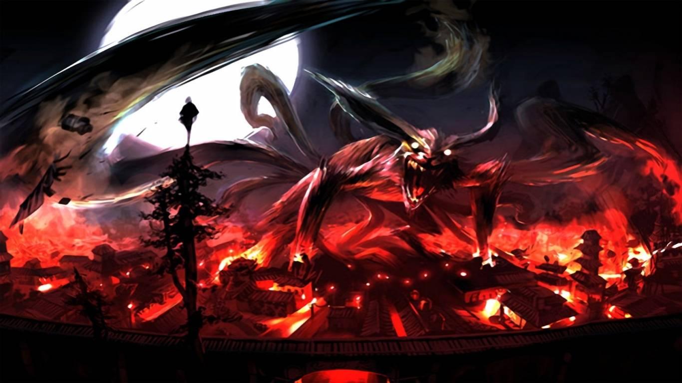 Monster 9 tail fox   Naruto Wallpaper 1366x768