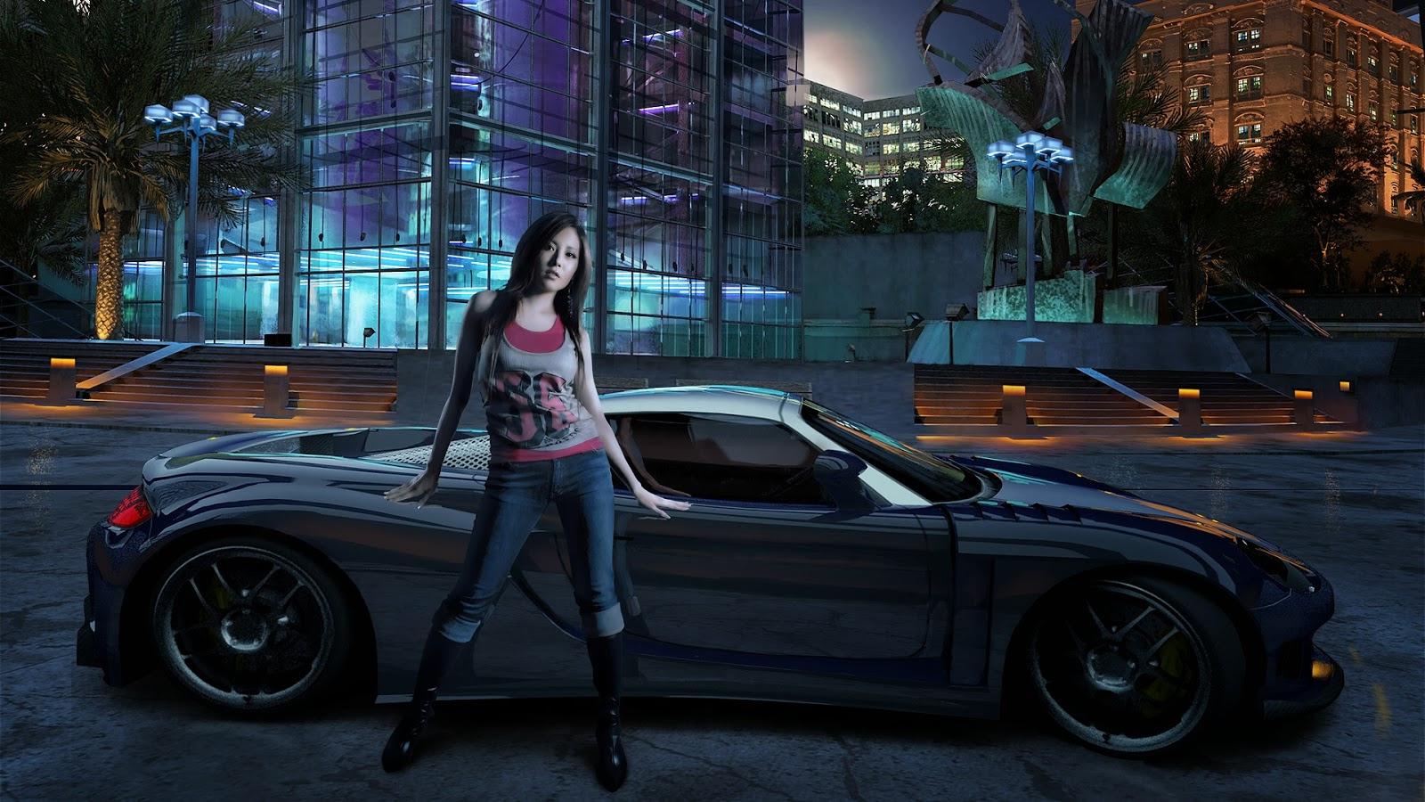 Girl with sports car night background HD wallpaper free downloadjpg 1600x900