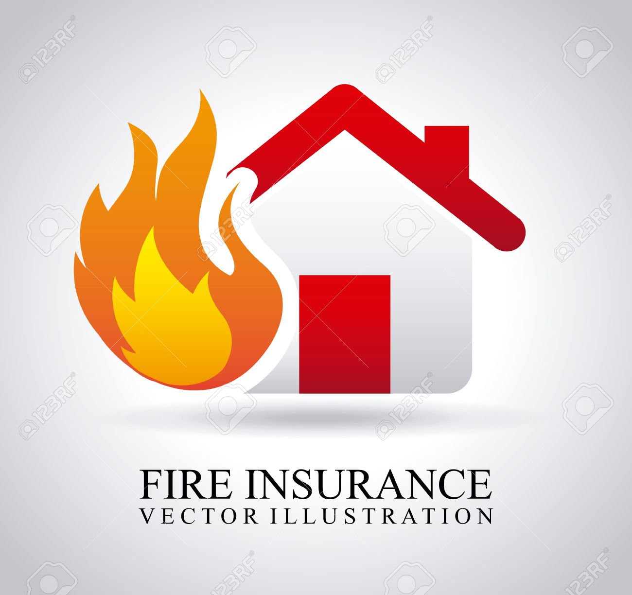 Fire Insurance Over Gray Background Royalty Cliparts Vectors 1300x1224