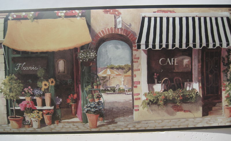 FRENCH CAFE STREET SCENE WINE FOOD Wall Border 9 800x490