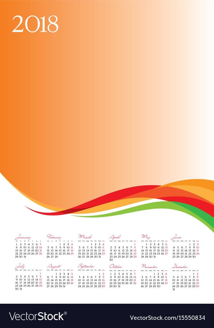 Template of 2018 calendar on orange background Vector Image 706x1080