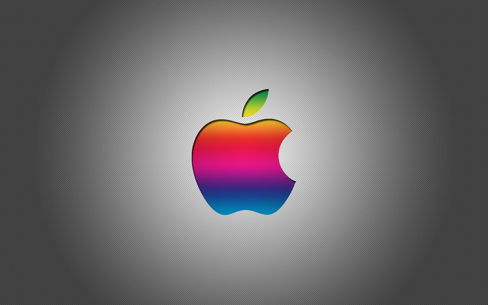 Grijze Apple wallpaper met gekleurde Apple logo HD Apple achtergrond 1600x1000