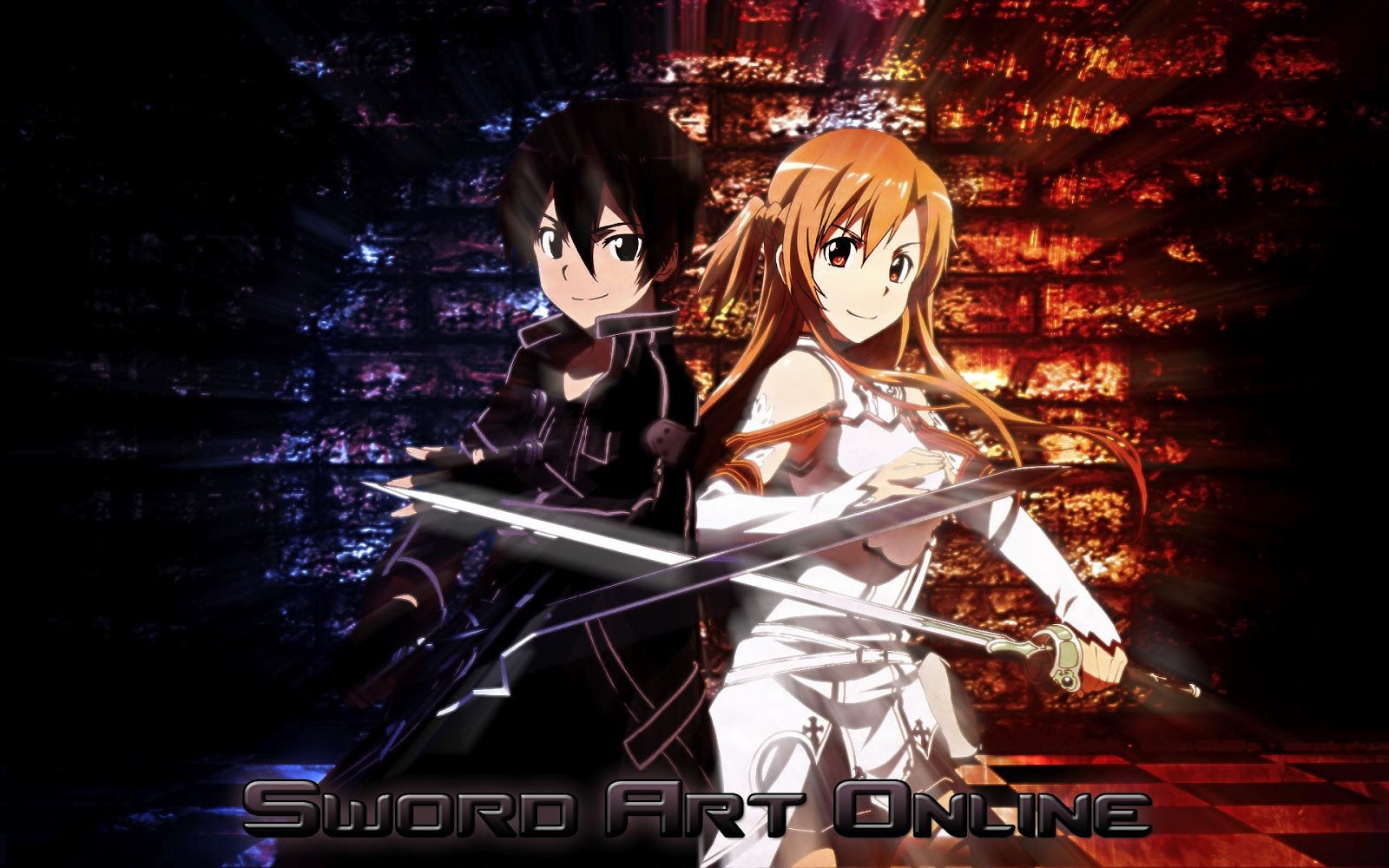 friend made this awesome sword art online wallpaper 1600x1000