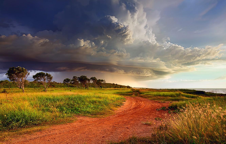 Wallpaper road the sky clouds clouds storm shore Australia 1332x850