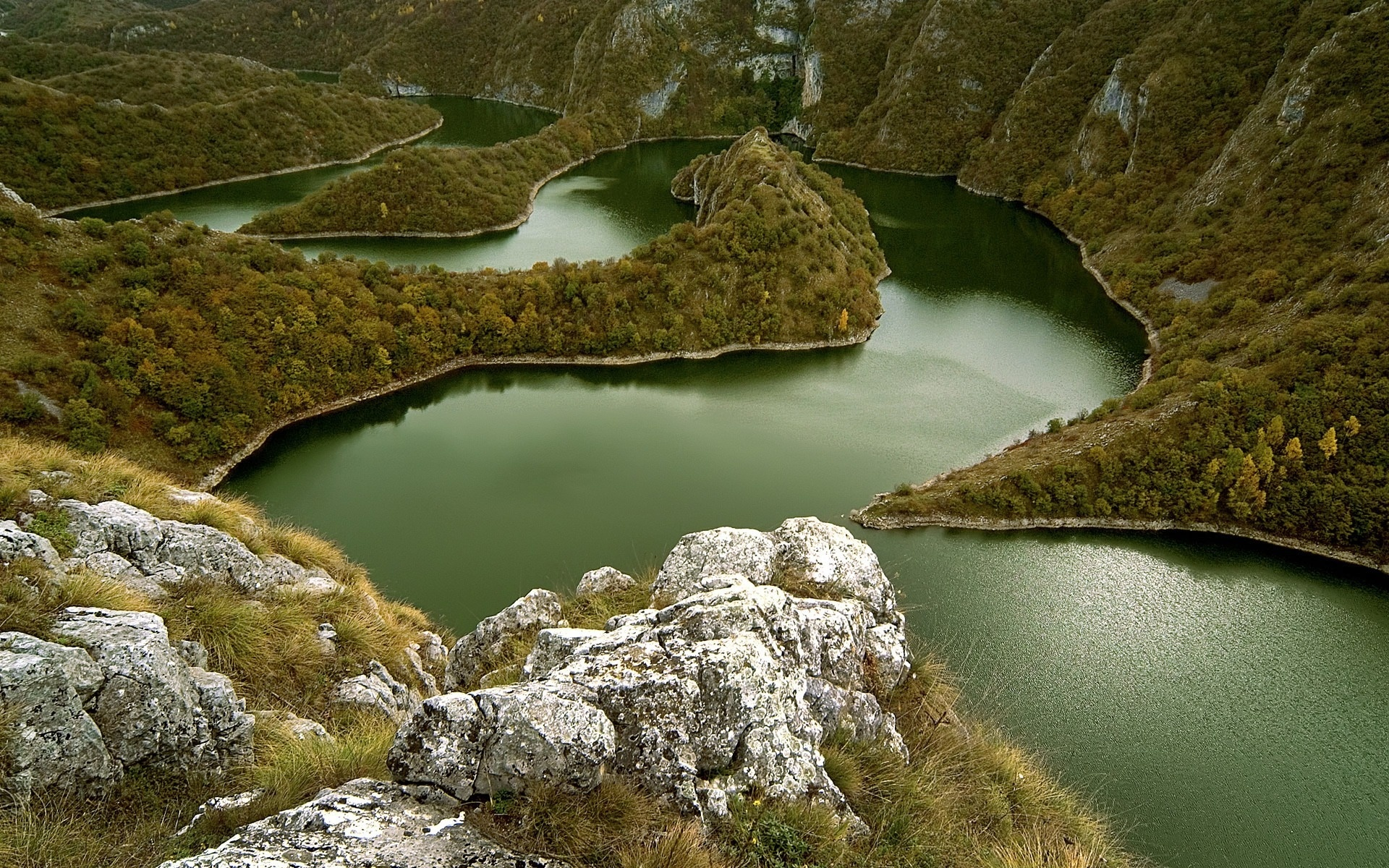 Wallpaper river mountains serbia meander sinuous watercourse 1920x1200