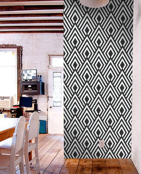 Removable self adhesive modern vinyl Wallpaper wall sticker   Ikat pa 570x702