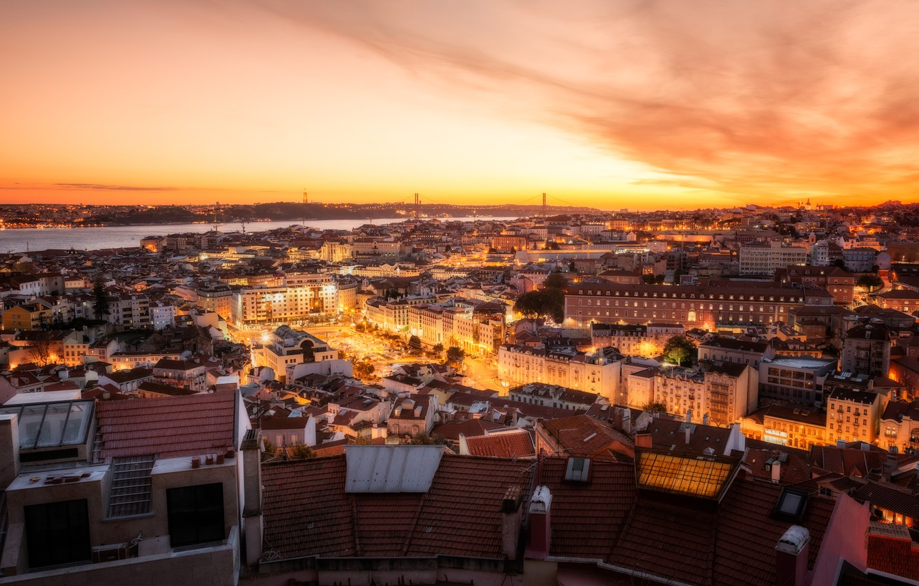 Wallpaper sunset river building home panorama Portugal night 1332x850