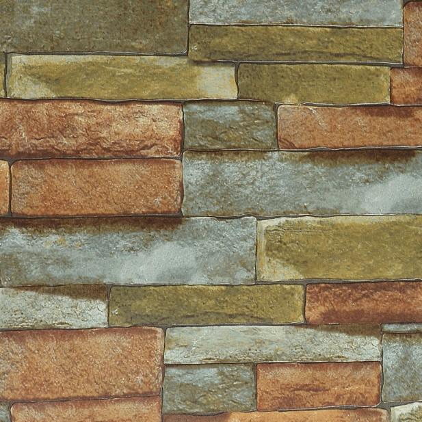Colourful PVC 3D Stone Wallpaper Roll imitation stone wall Masonry 617x617