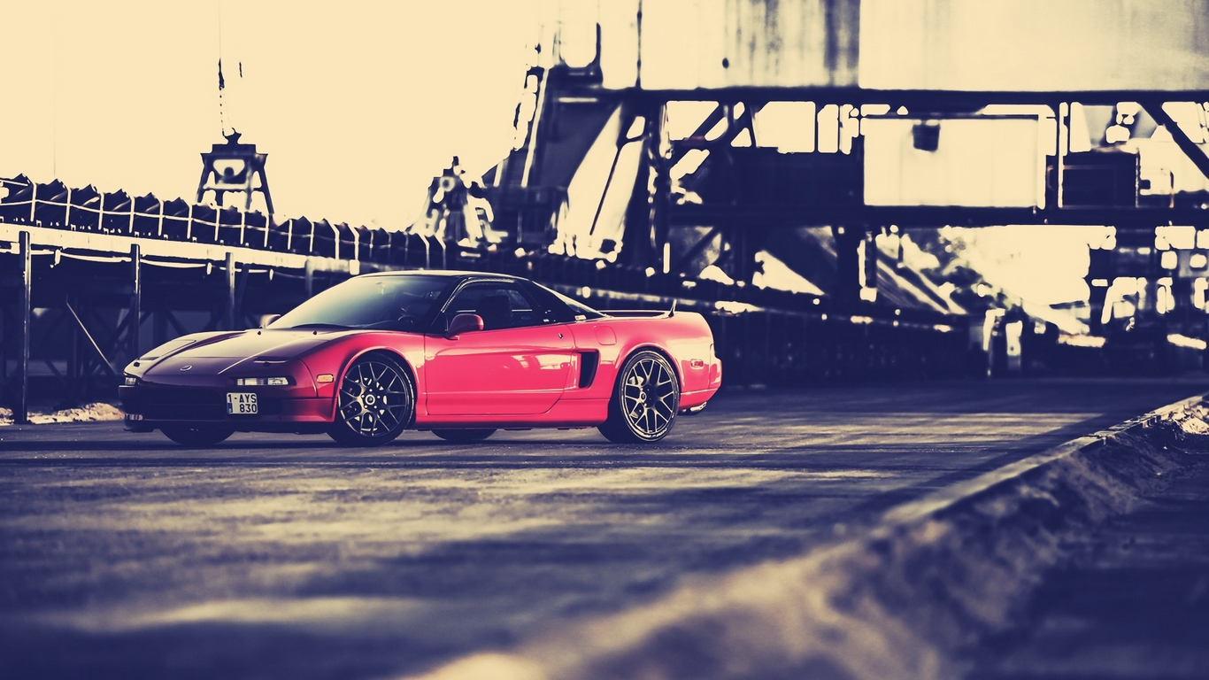 Download wallpaper 1366x768 honda nsx red side view tablet 1366x768