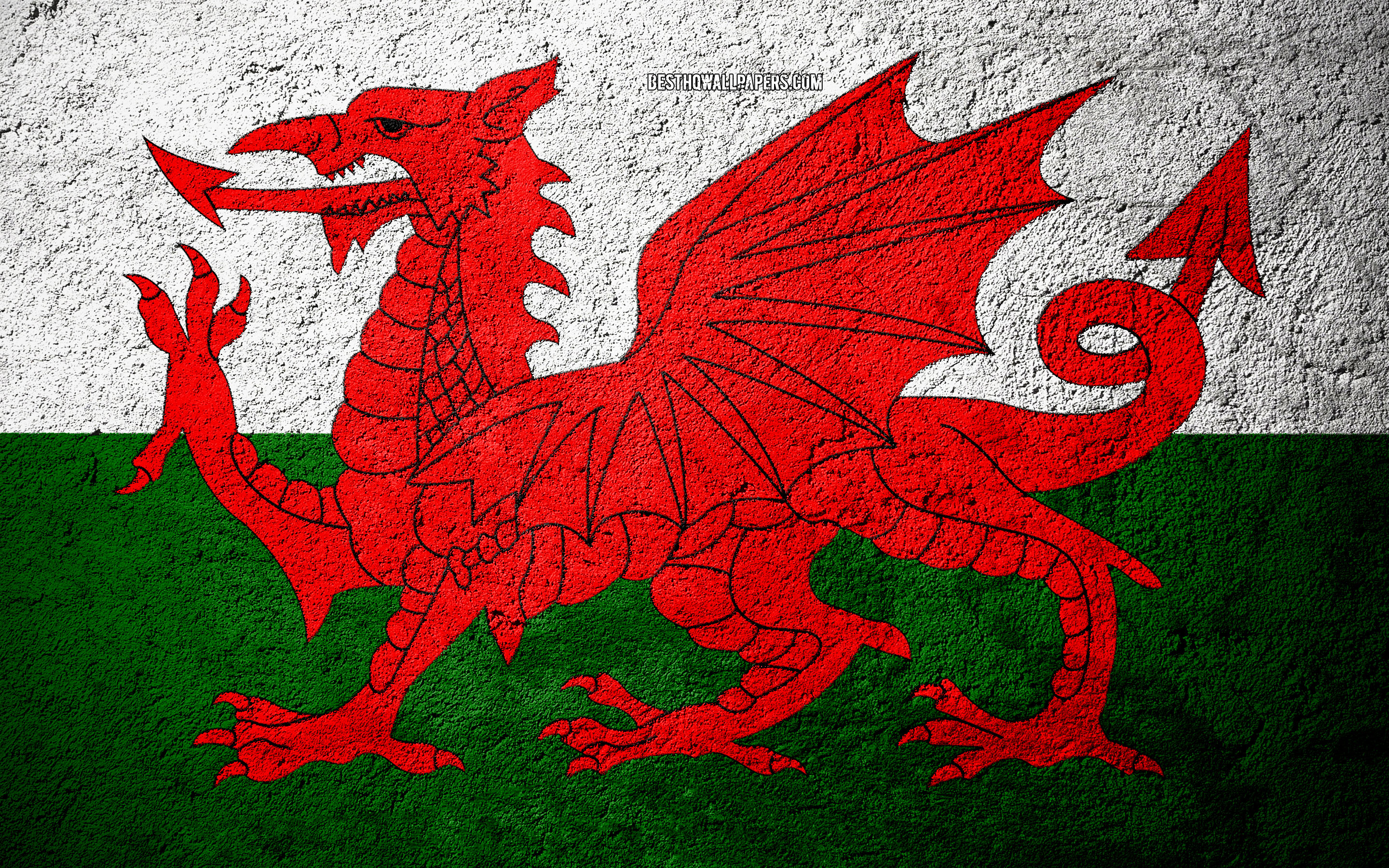 Download wallpapers Flag of Wales concrete texture stone 2880x1800
