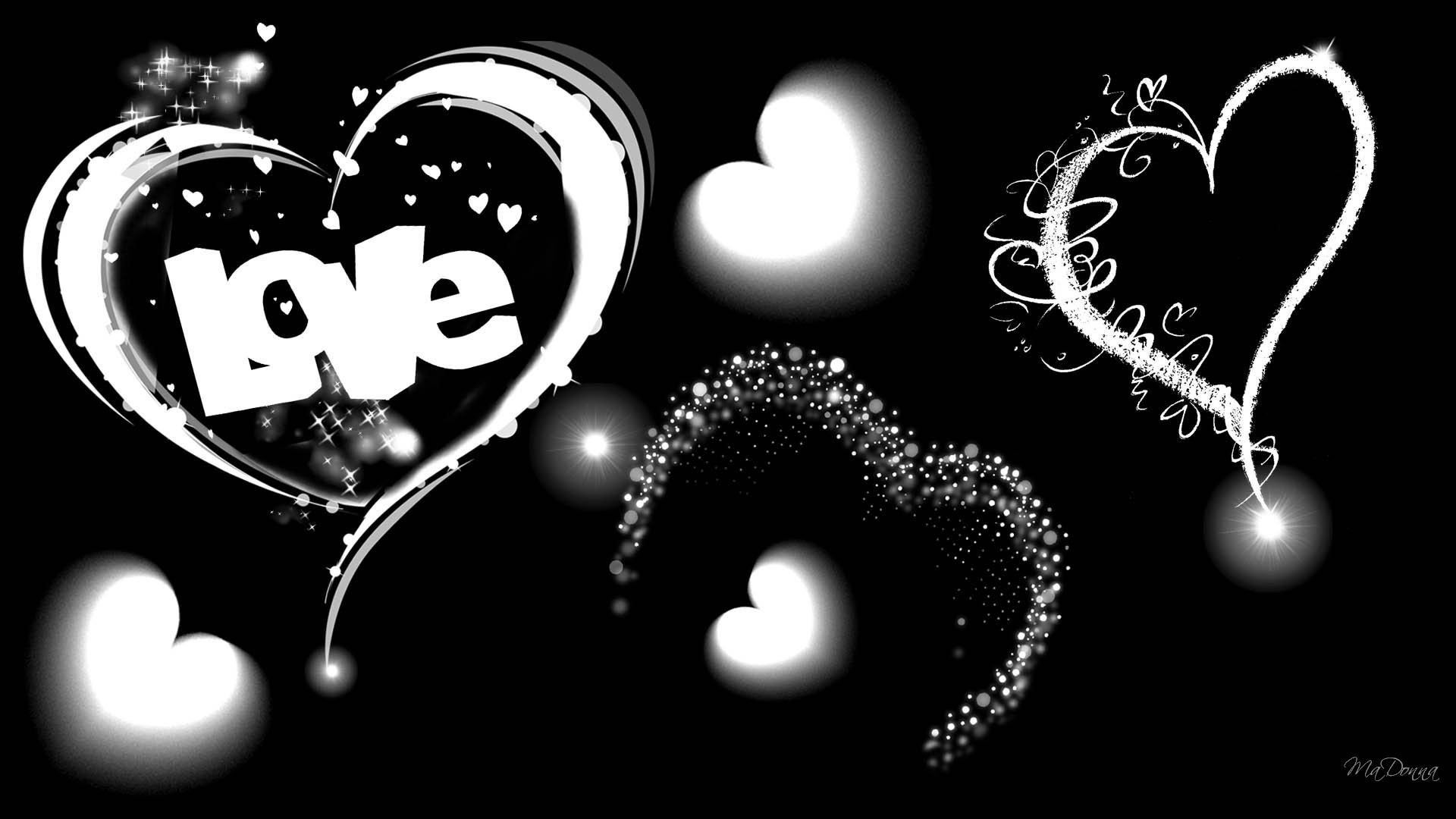 Black And White Heart Background
