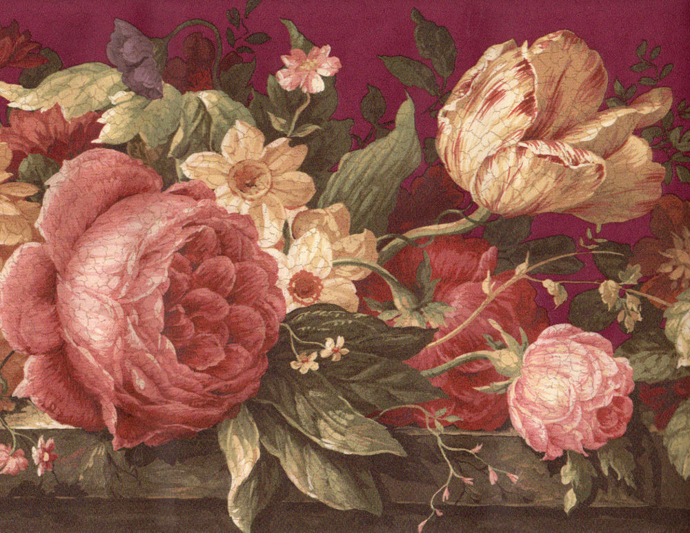 Victorian Burgundy Crackle Cabbage Rose Tulip Floral Flower Wall Paper 1000x773