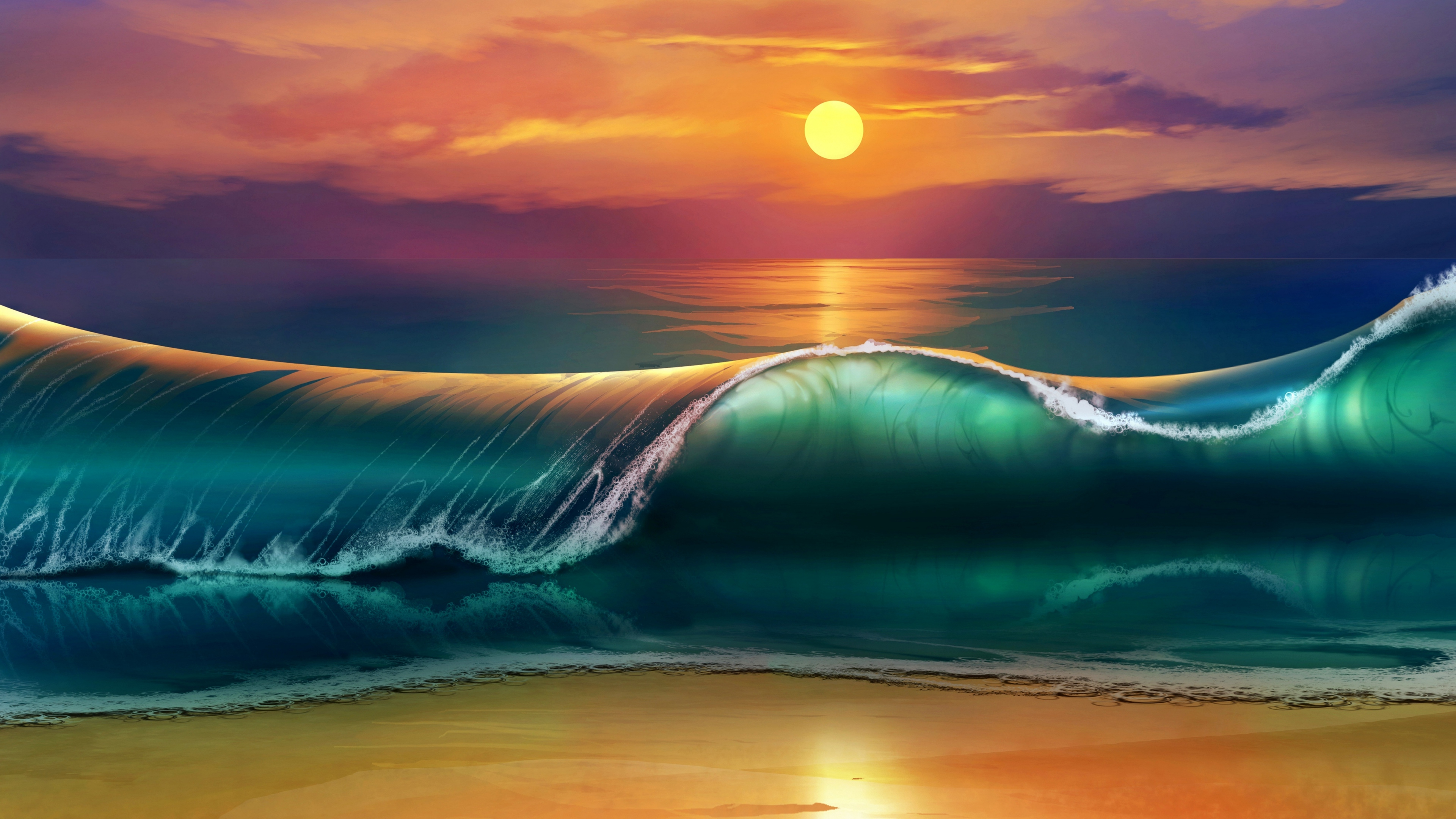 Wallpaper 38402160 art sunset beach sea waves 4K Ultra HD HD 3840x2160