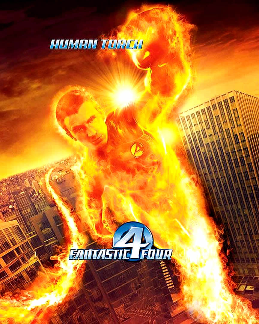 FANTASTIC FOUR HUMAN TORCH   superhero movie posters wallpaper image 864x1080