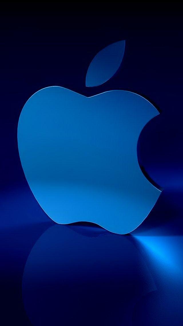 3D Blue Apple Logo Wallpaper   iPhone Wallpapers 640x1136