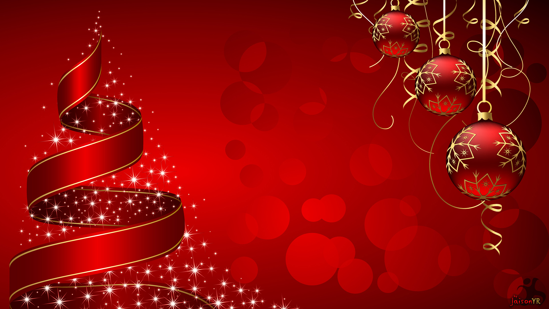 Christmas decorations and ribbon on Christmas wallpapers 1920x1080