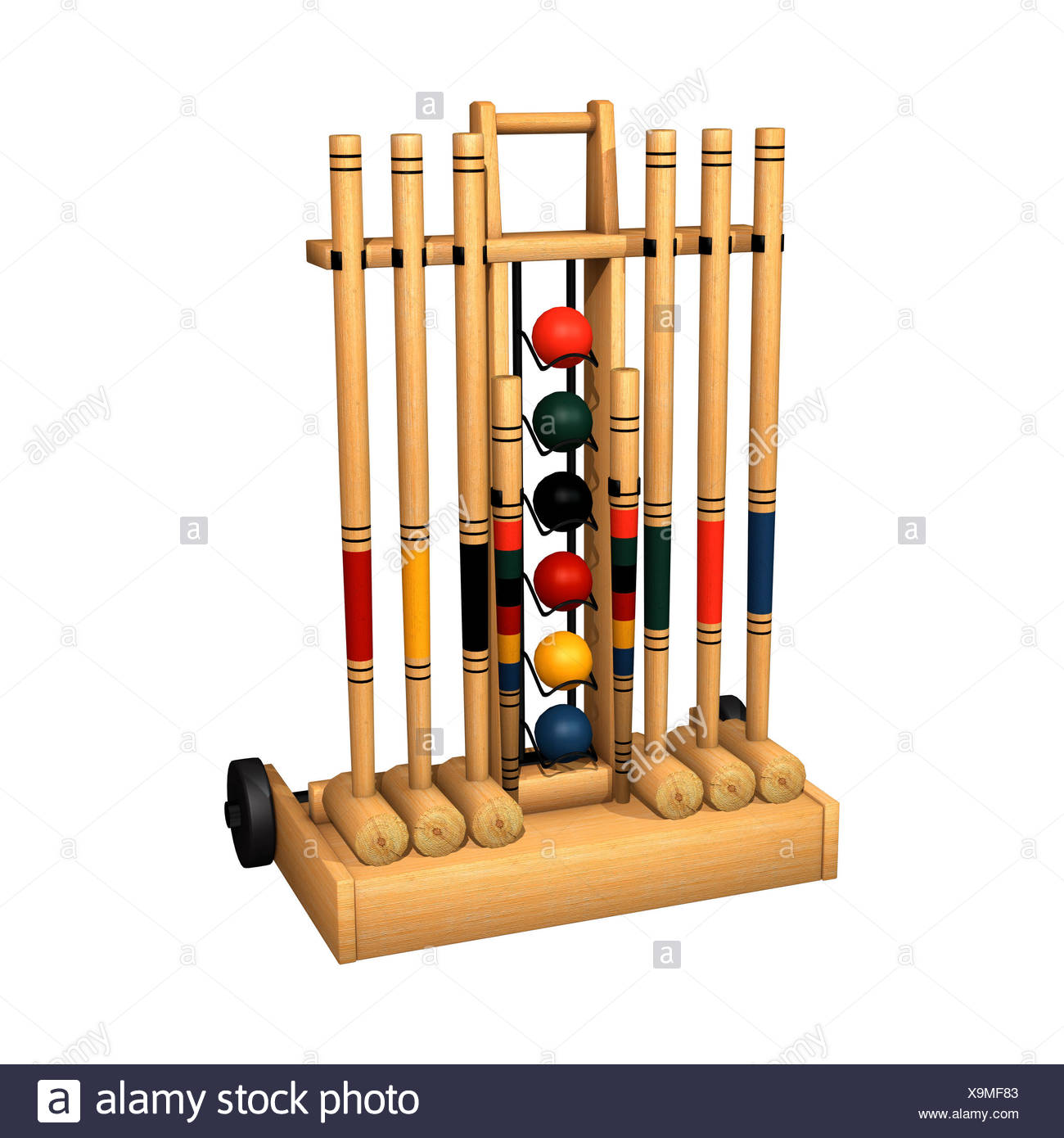 3D digital render of a croquet stand isolated on white background 1300x1390