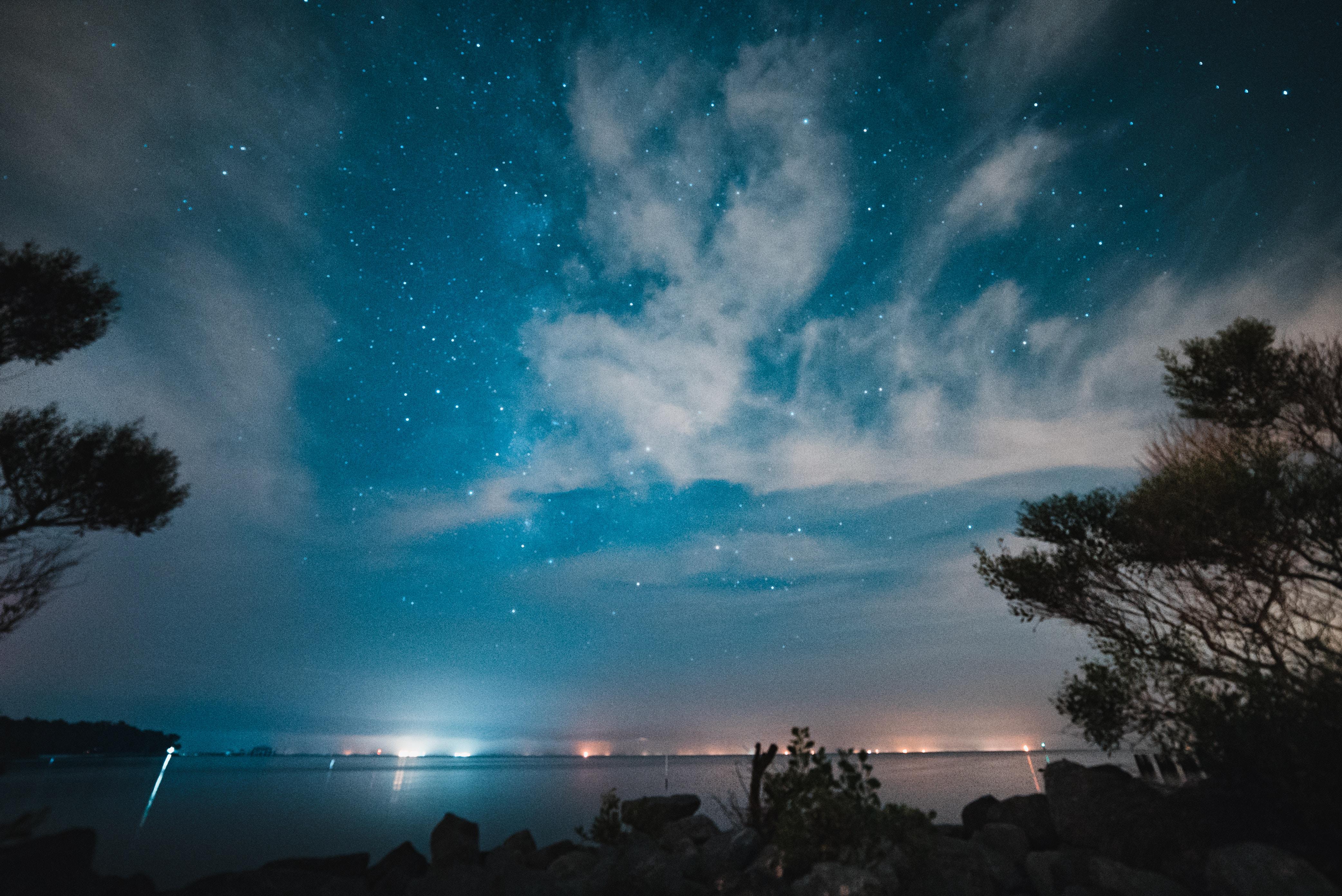 Wallpaper starry sky night river 4168x2784     1182732   HD 4168x2784