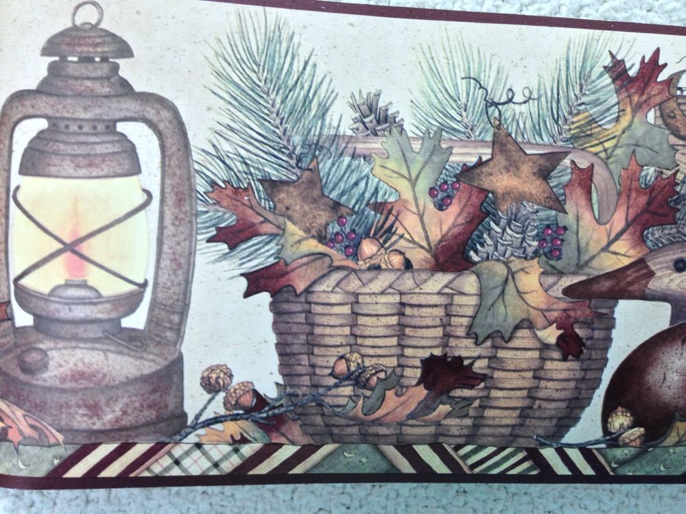 Welcome to Our Cabin Wallpaper Border with Lanterns Ducks and Pine 1000x750
