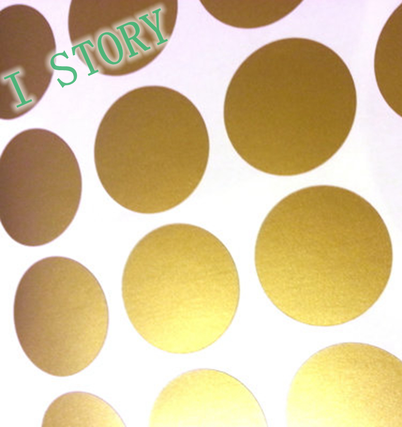 Wall Decal Sticker Peel and Stick Metallic Gold Polka Dot Wall Decor 800x851