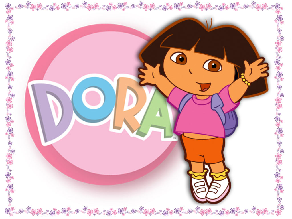 Sweet Dora Wallpaper with flowers 1024x768