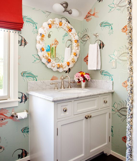 In a childs bathroom Melodie covered the walls in a darling fish 570x669