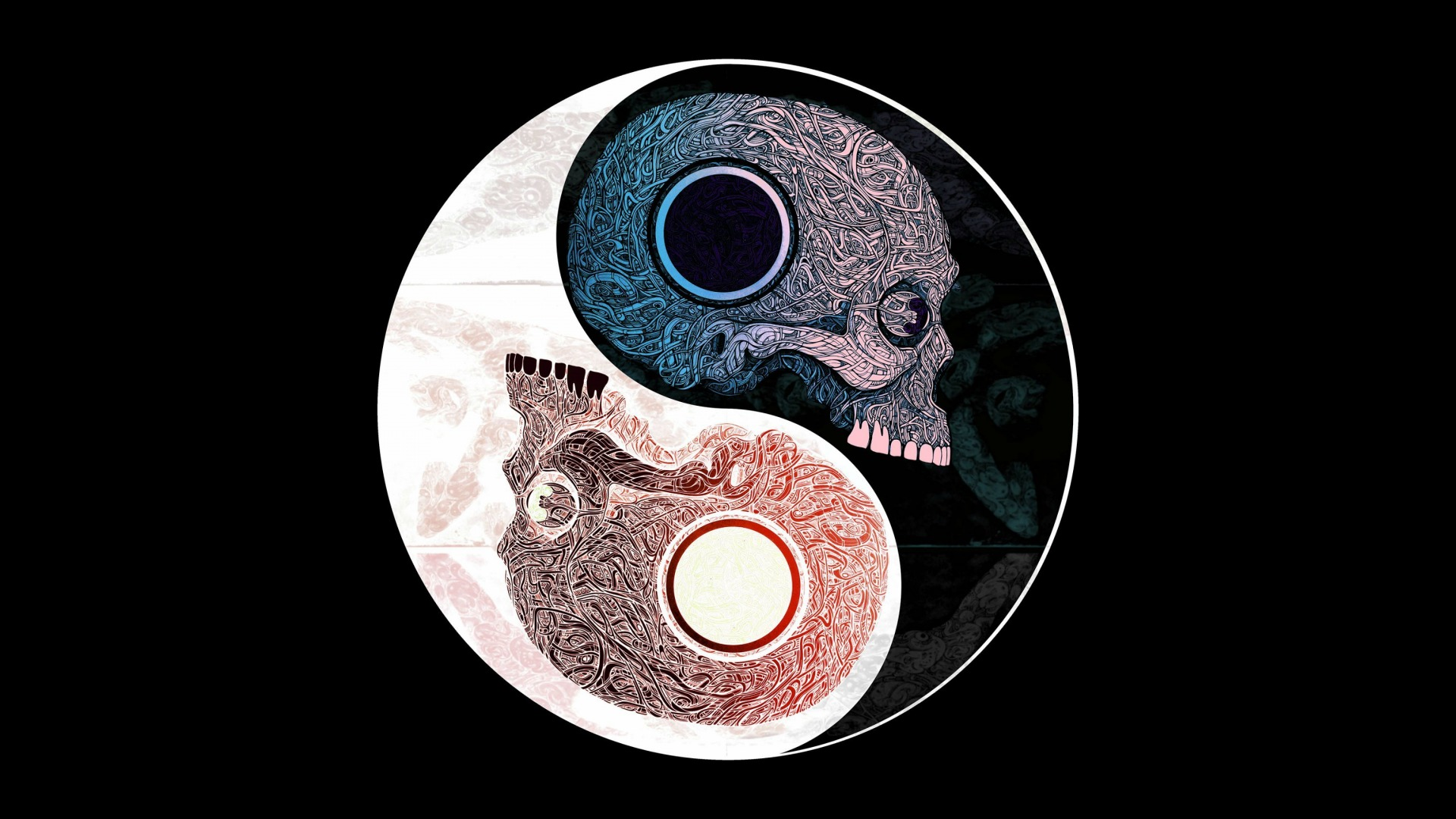 Skulls yin yang symbol pattern art on black background 1920x1080