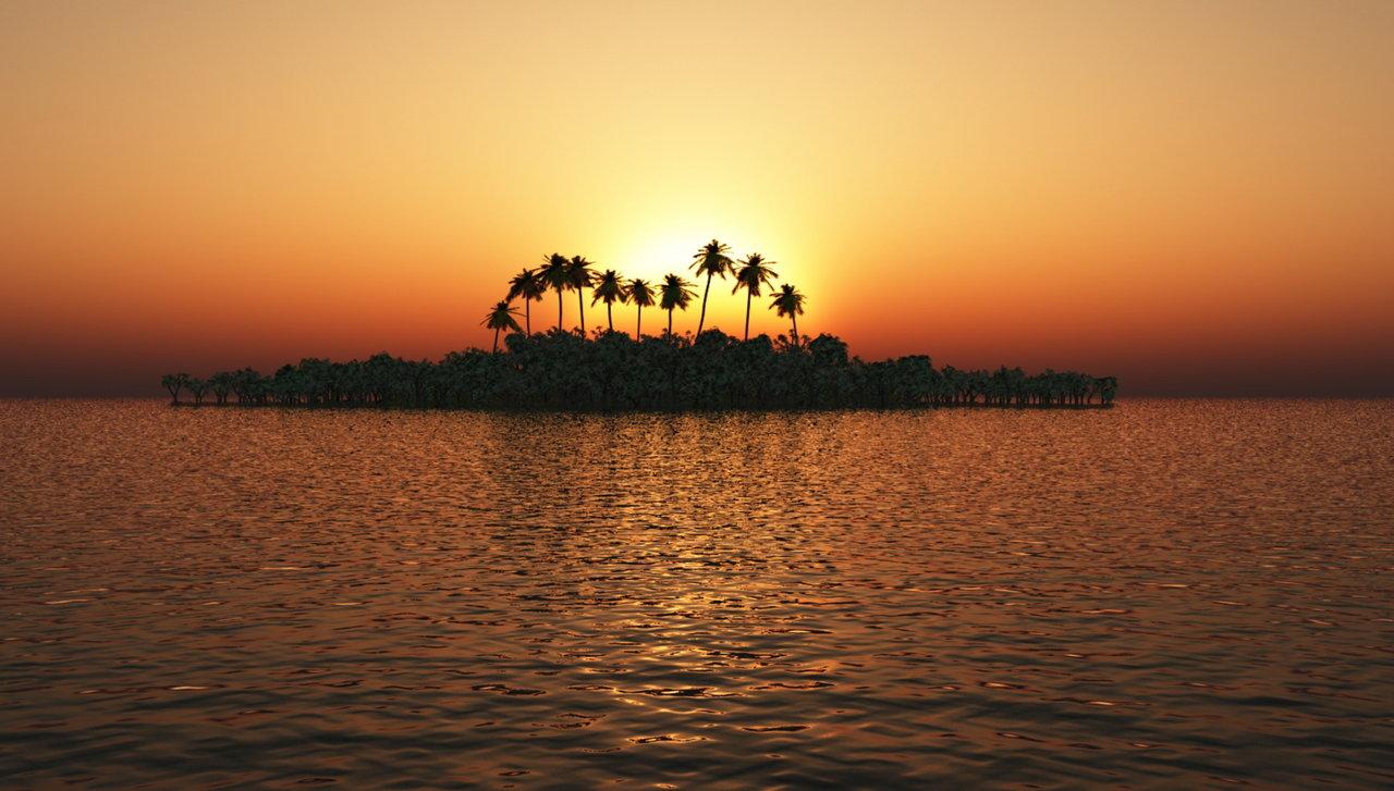 Tropical Island Orange Sunset by kabegami 1280x727