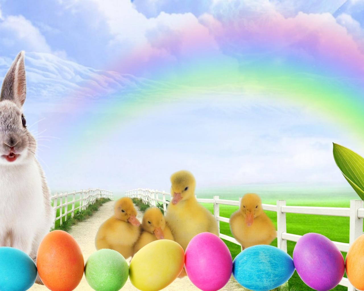 hd wallpaper easter bunny lane clouds colored   Background 1280x1024