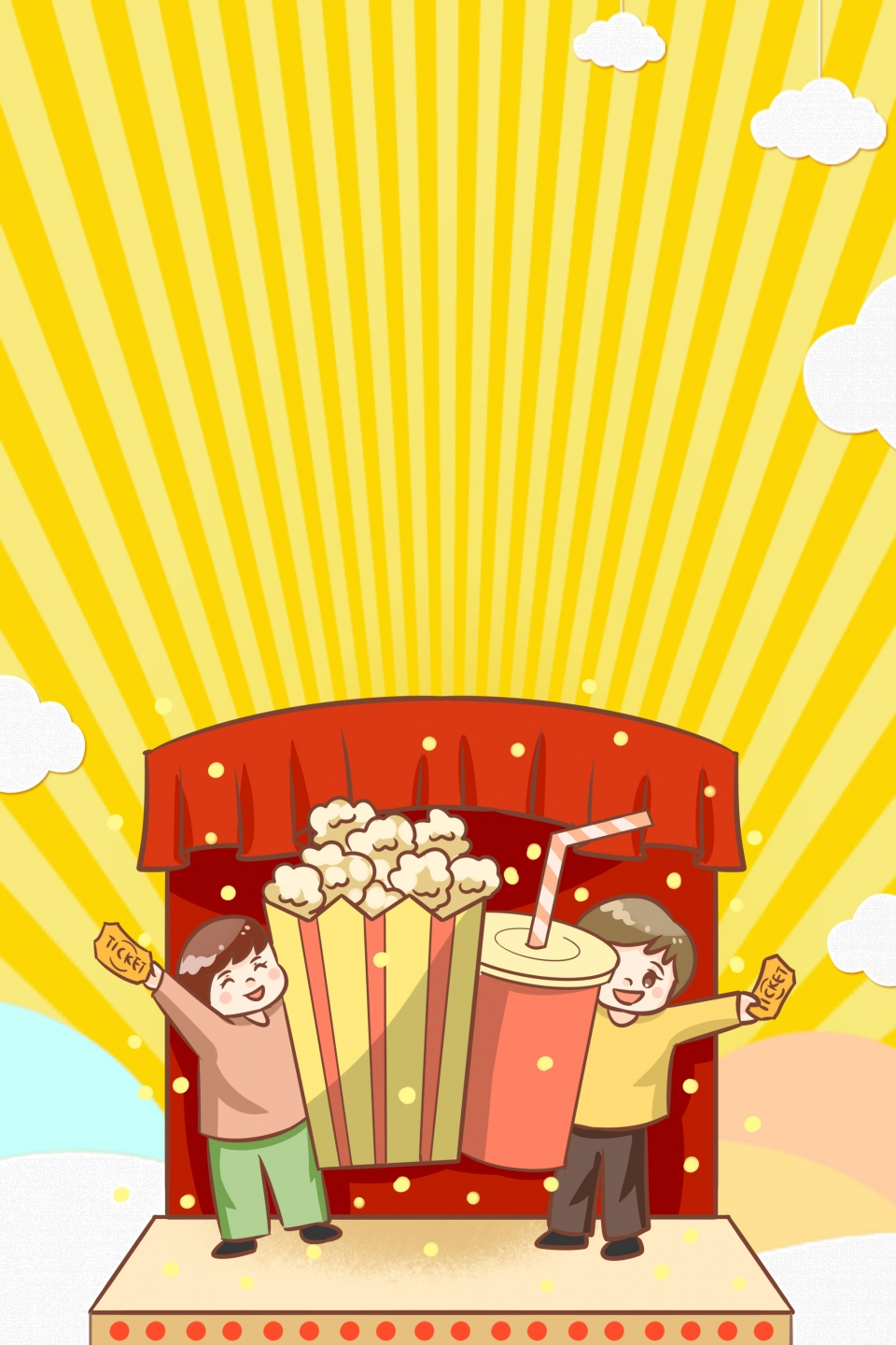 Creative Vector Popcorn New Taste Poster Background Popcorn Set 960x1440