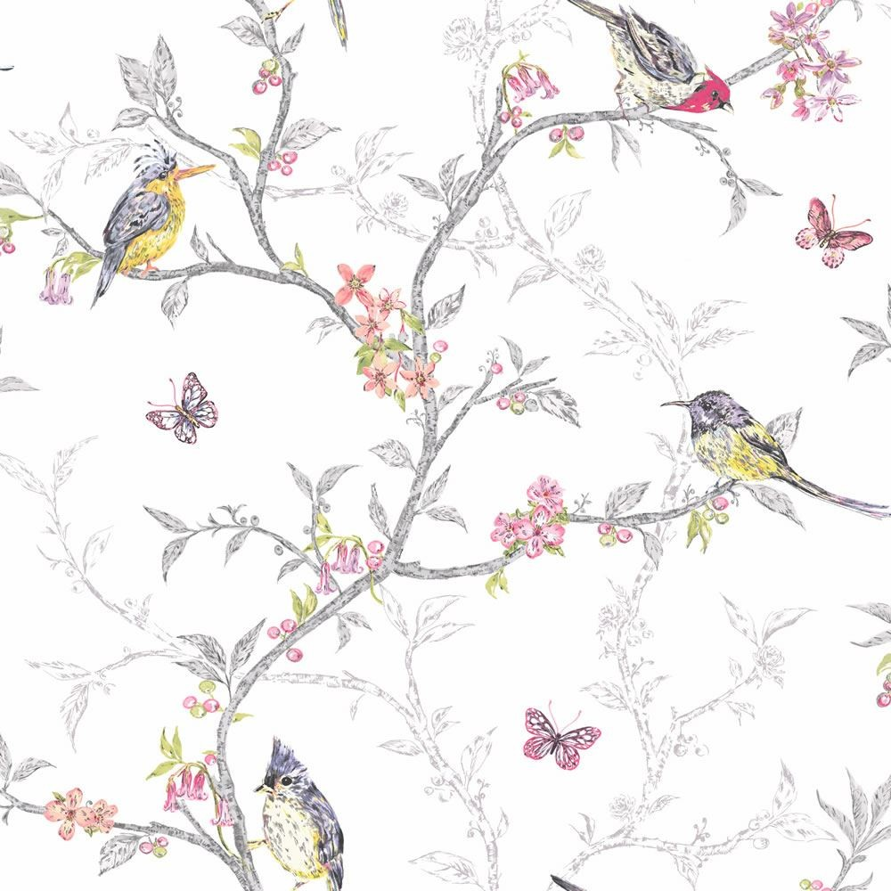 Home White   98080   Phoebe   Birds   Trees   Blossom   Butterflies 1000x1000
