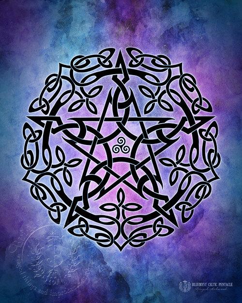 Wiccan Pentagram Wallpaper Blue myst celtic pentacle 500x625