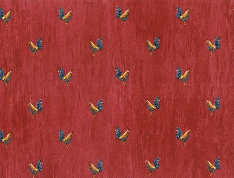 Details about KITCHEN Roosters Country Red Wallpaper KC18588 770x586