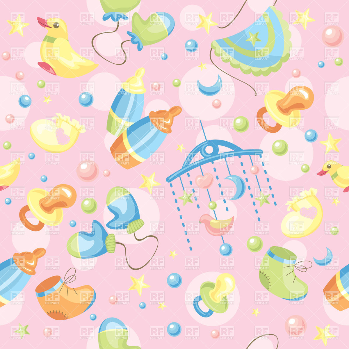 Seamless pink background with baby toys and accessories download 1200x1200