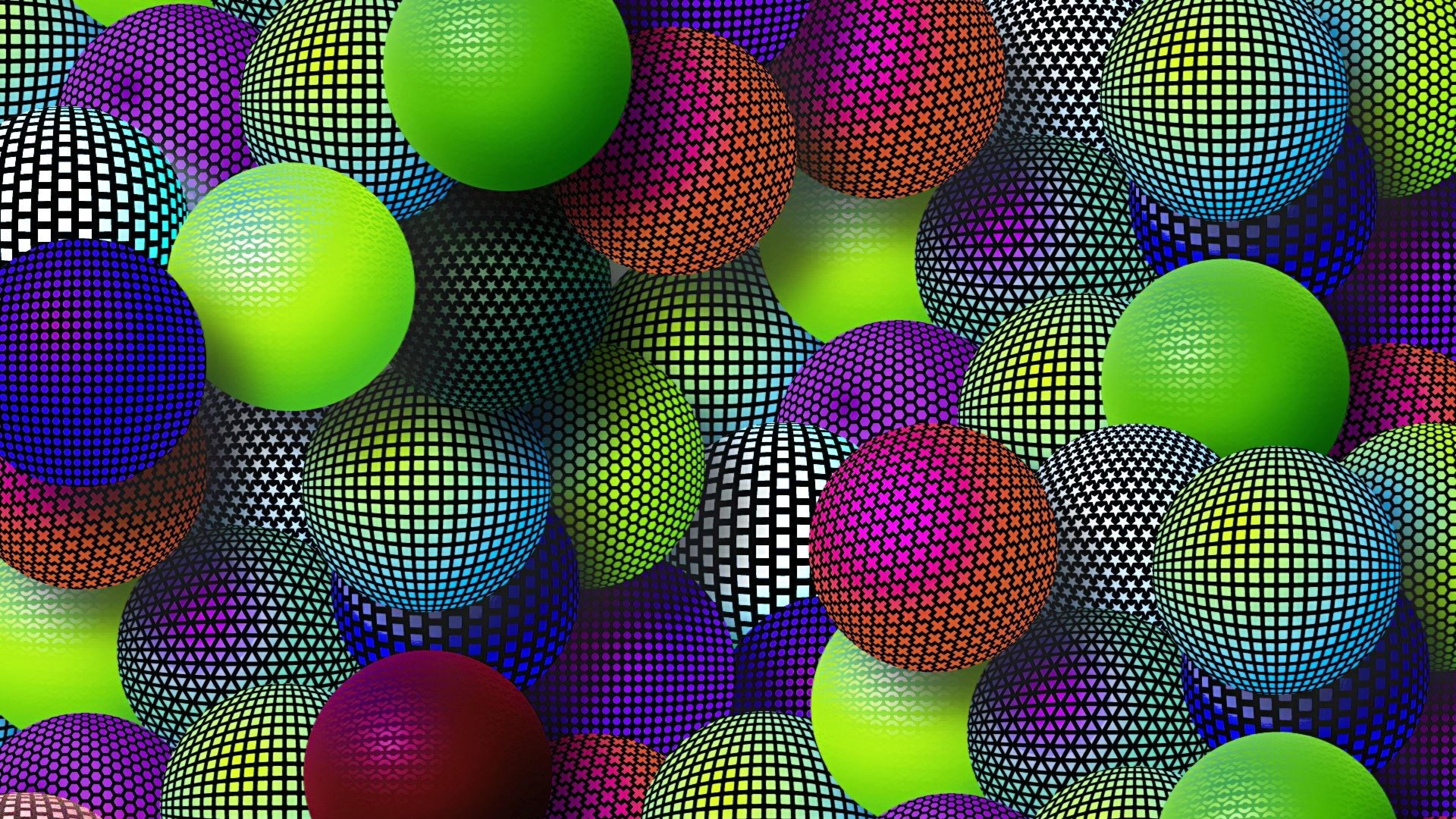 Download Wallpaper 3840x2160 Balloons Colorful Mesh Set Variety 4K 3840x2160