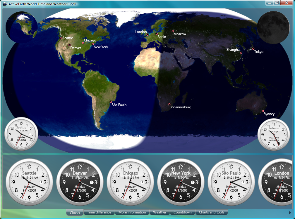ActiveEarth World Time and Weather Clock daynight map analog clocks 1008x750